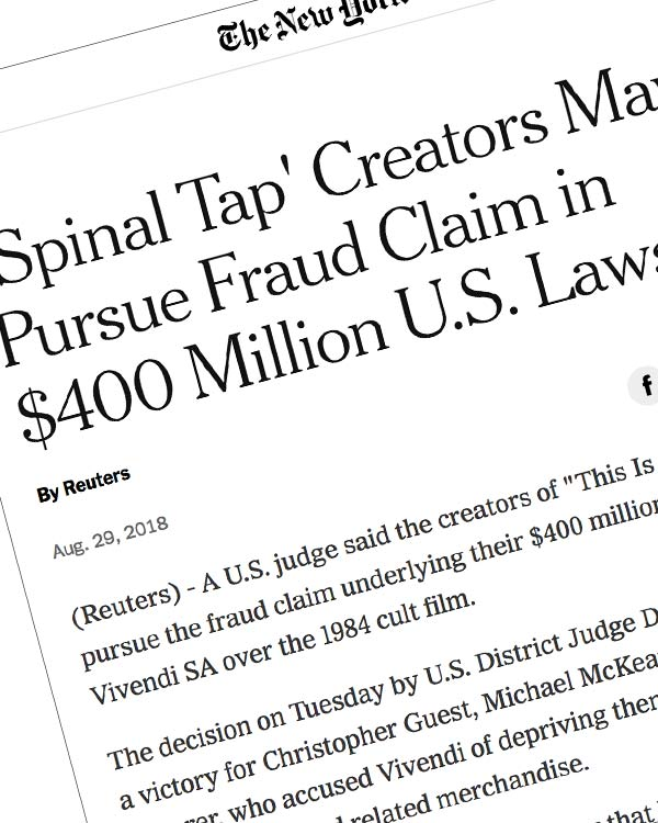 Fairness Rocks News 'Spinal Tap' creators may pursue fraud claim in $400 million U.S. lawsuit