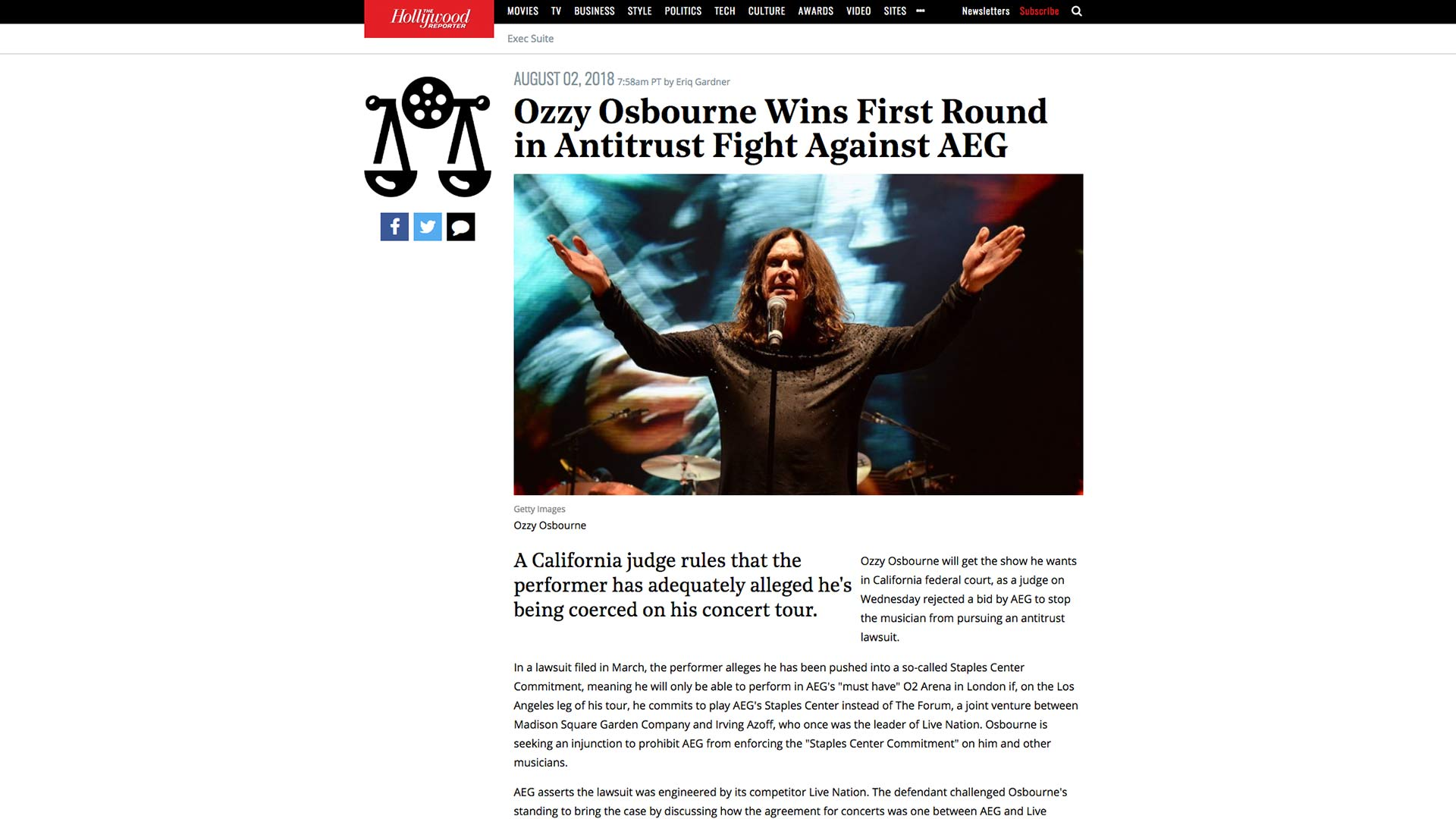 Fairness Rocks News Ozzy Osbourne Wins First Round in Antitrust Fight Against AEG