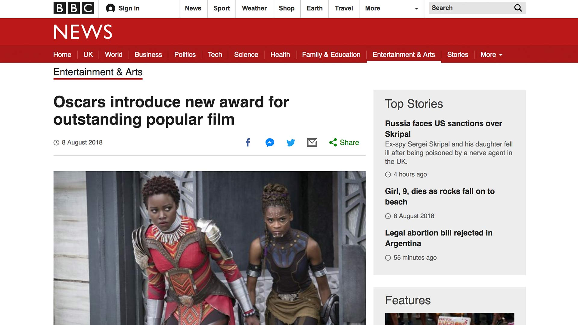 Fairness Rocks News Oscars introduce new award for outstanding popular film