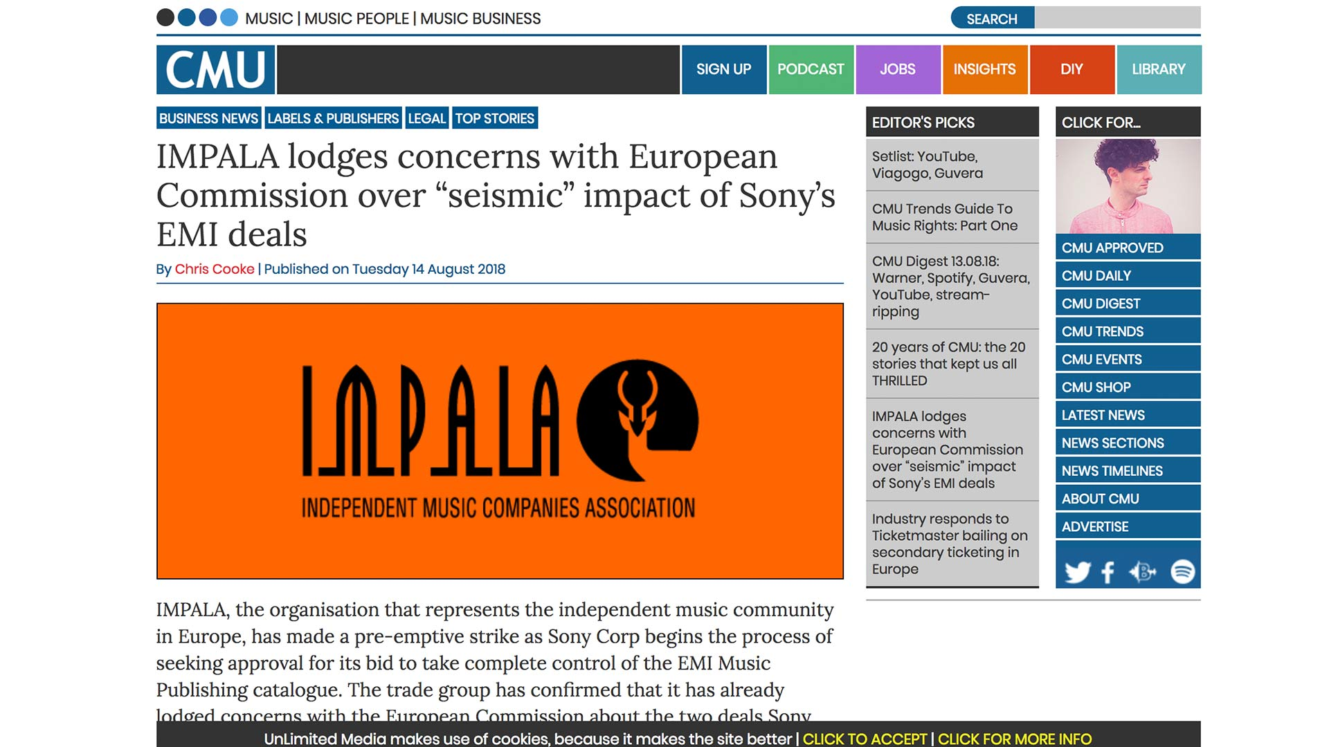 """Fairness Rocks News IMPALA lodges concerns with European Commission over """"seismic"""" impact of Sony's EMI deals"""