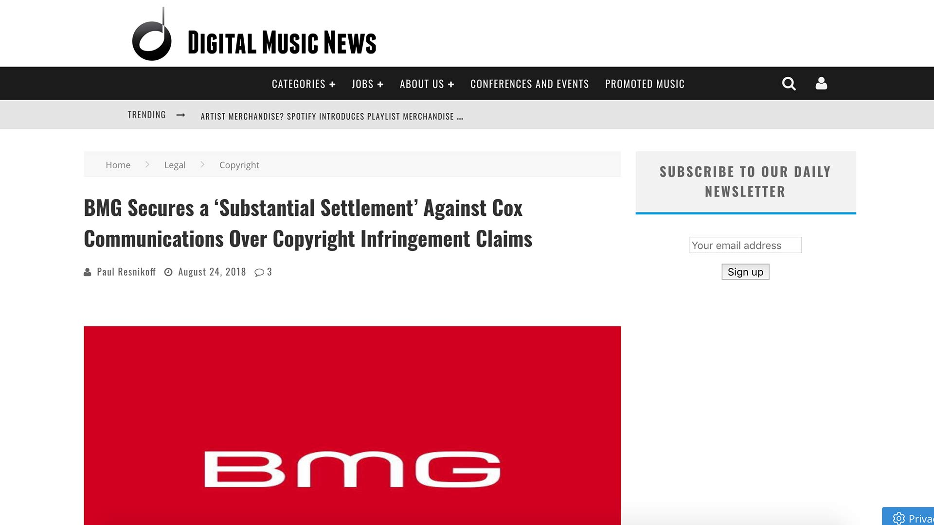 Fairness Rocks News BMG Secures a 'Substantial Settlement' Against Cox Communications Over Copyright Infringement Claims