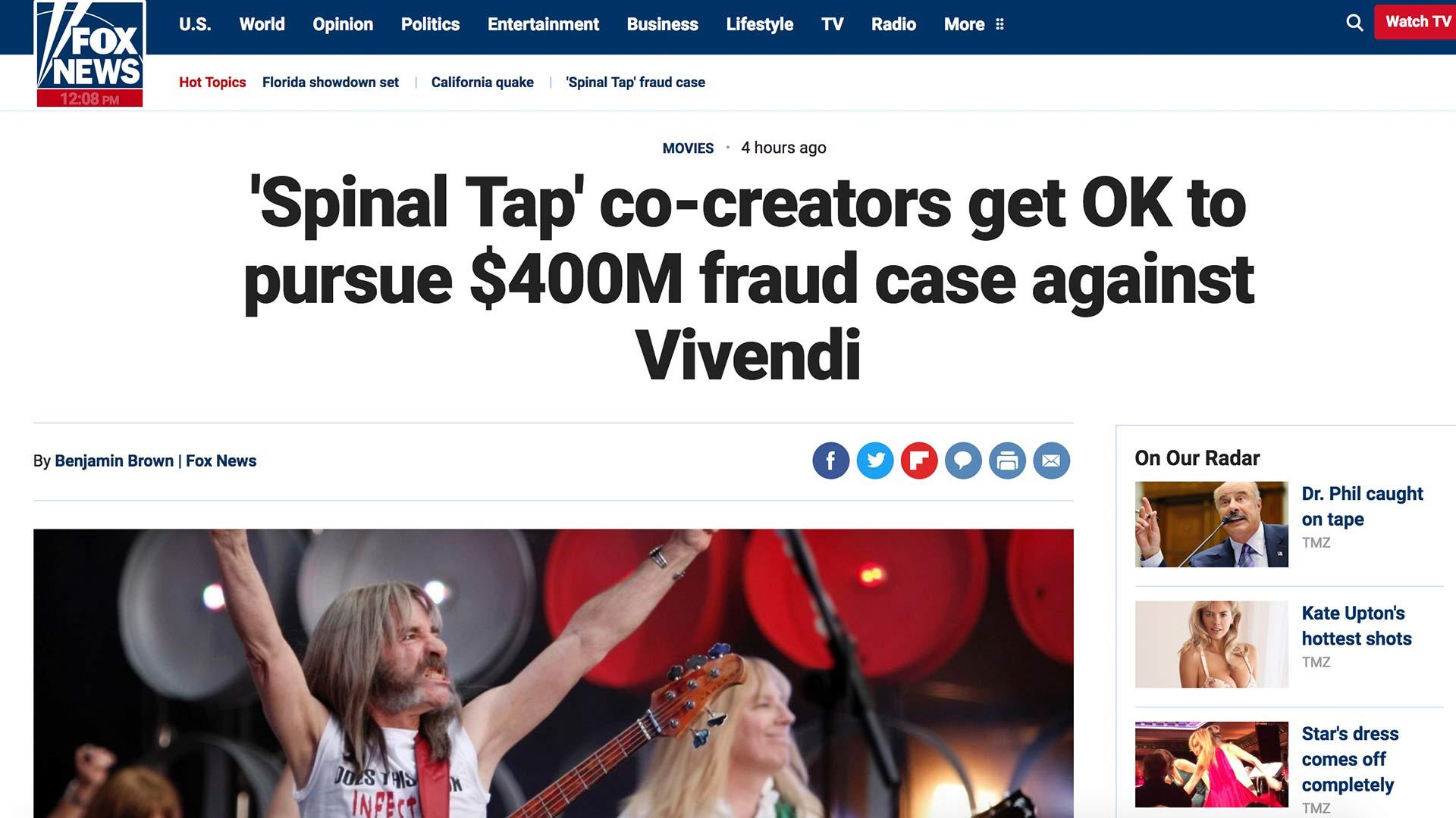 Fairness Rocks News 'Spinal Tap' co-creators get OK to pursue $400M fraud case against Vivendi
