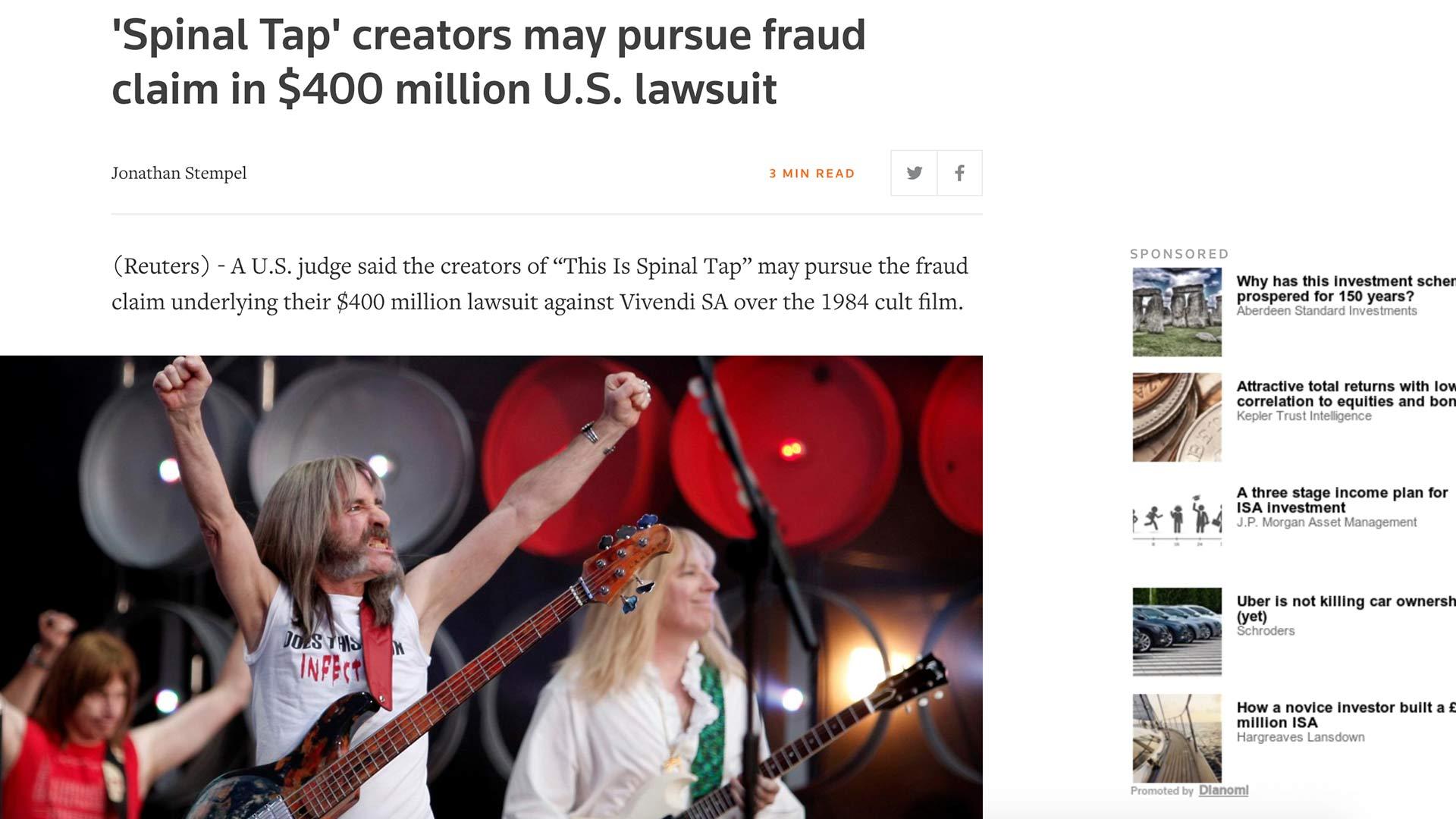 Fairness Rocks News 'Spinal Tap' creators may pursue fraud claim in $400 million U.S. lawsuit
