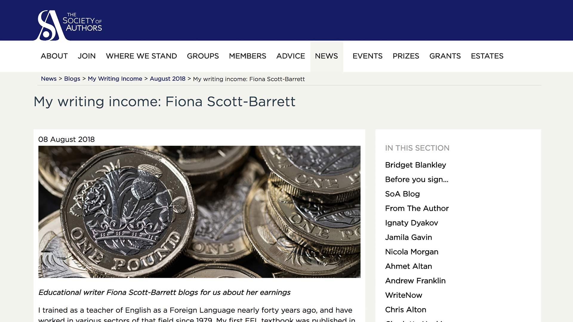 Fairness Rocks News My writing income: Fiona Scott-Barrett