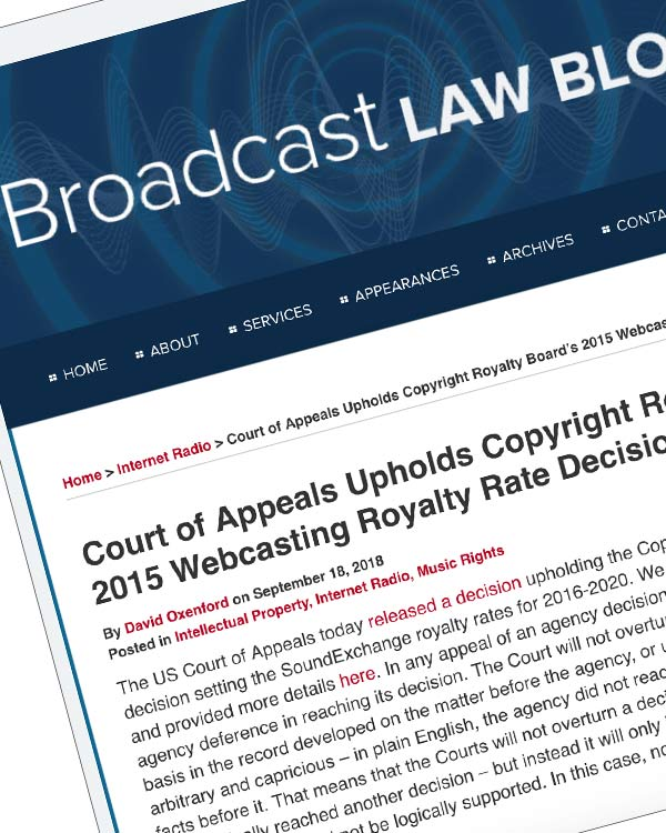 Fairness Rocks News Court of Appeals Upholds Copyright Royalty Board's 2015 Webcasting Royalty Rate Decision