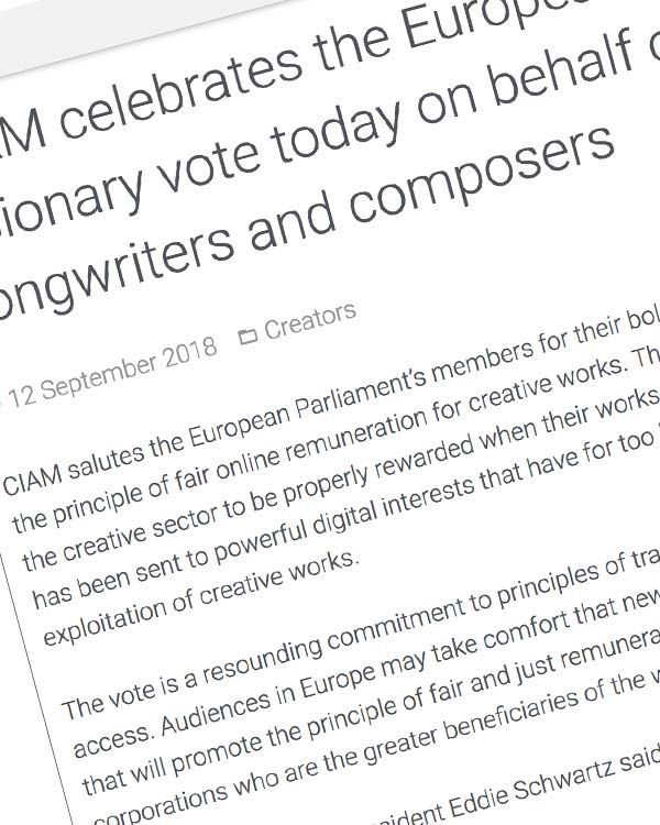Fairness Rocks News CIAM celebrates the European Parliament's visionary vote today on behalf of the world's songwriters and composers