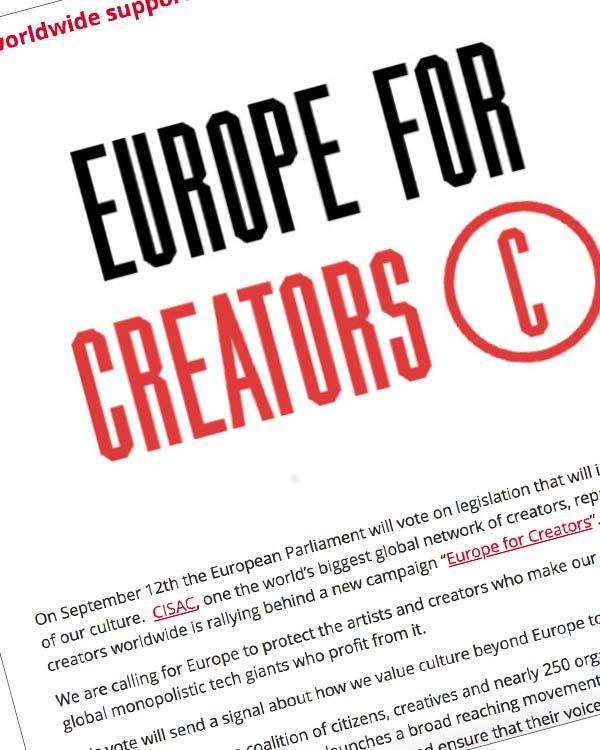 "Fairness Rocks News Creators worldwide support new ""Europe for creators"" campaign"