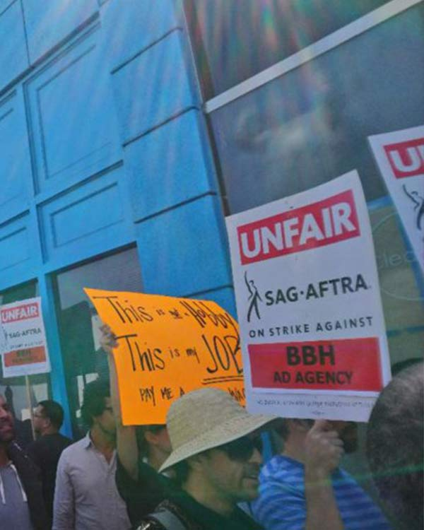 "Fairness Rocks News SAG-AFTRA Pickets Bartle Bogle Hegarty Ad Agency: ""We're Mad as Hell"""