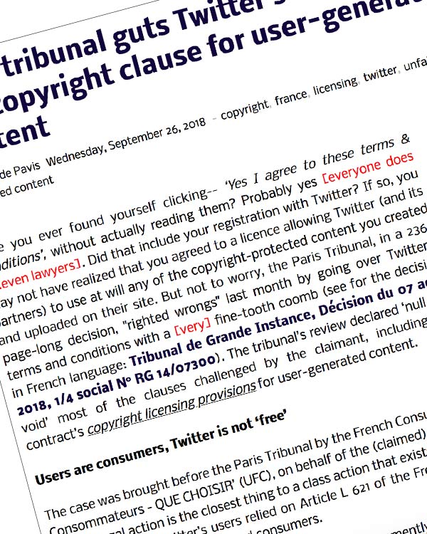 Fairness Rocks News Paris tribunal guts Twitter's T&Cs… including the copyright clause for user-generated content
