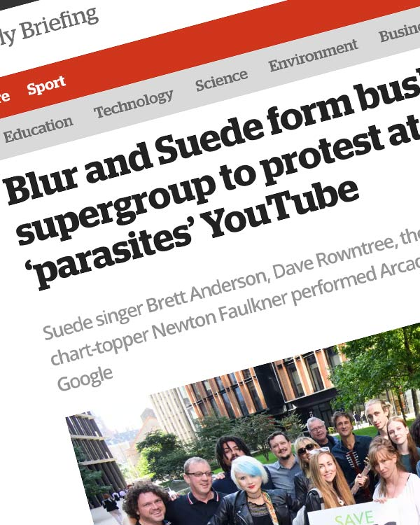 Fairness Rocks News Blur and Suede form busking supergroup to protest at music 'parasites' YouTube