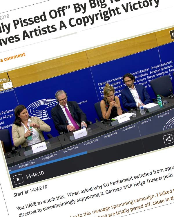 """Fairness Rocks News """"Totally Pissed Off"""" By Big Tech Spam EU Gives Artists A Copyright Victory"""