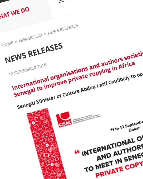 Fairness Rocks News International organisations and authors societies to meet in Senegal to improve private copying in Africa