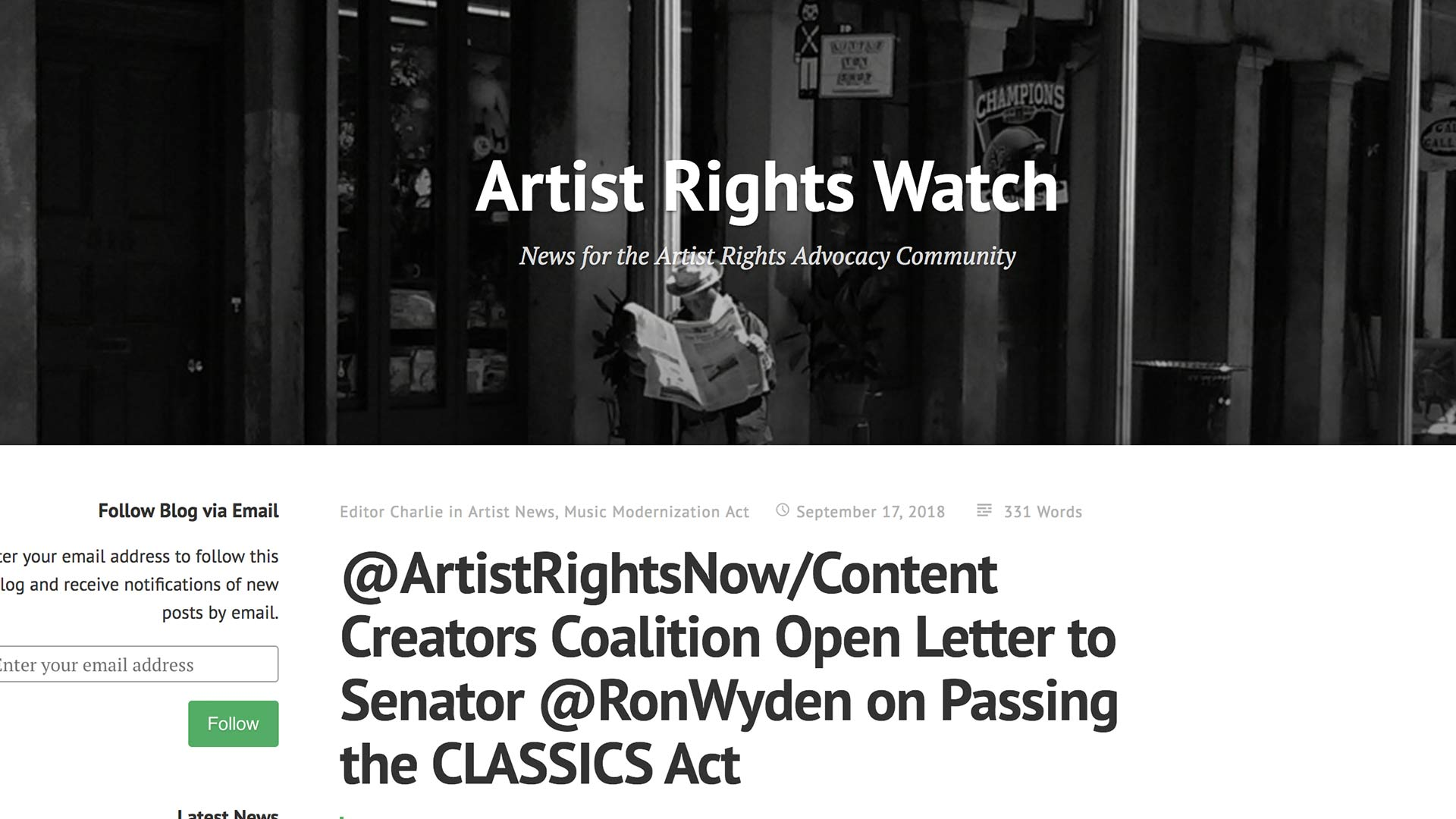 Fairness Rocks News @ArtistRightsNow/Content Creators Coalition Open Letter to Senator @RonWyden on Passing the CLASSICS Act