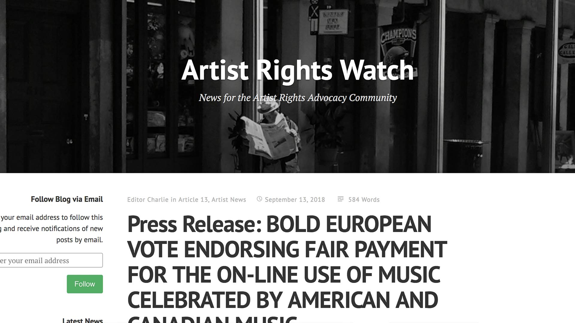 Fairness Rocks News Press Release: BOLD EUROPEAN VOTE ENDORSING FAIR PAYMENT FOR THE ON-LINE USE OF MUSIC CELEBRATED BY AMERICAN AND CANADIAN MUSIC CREATORS (MCNA)