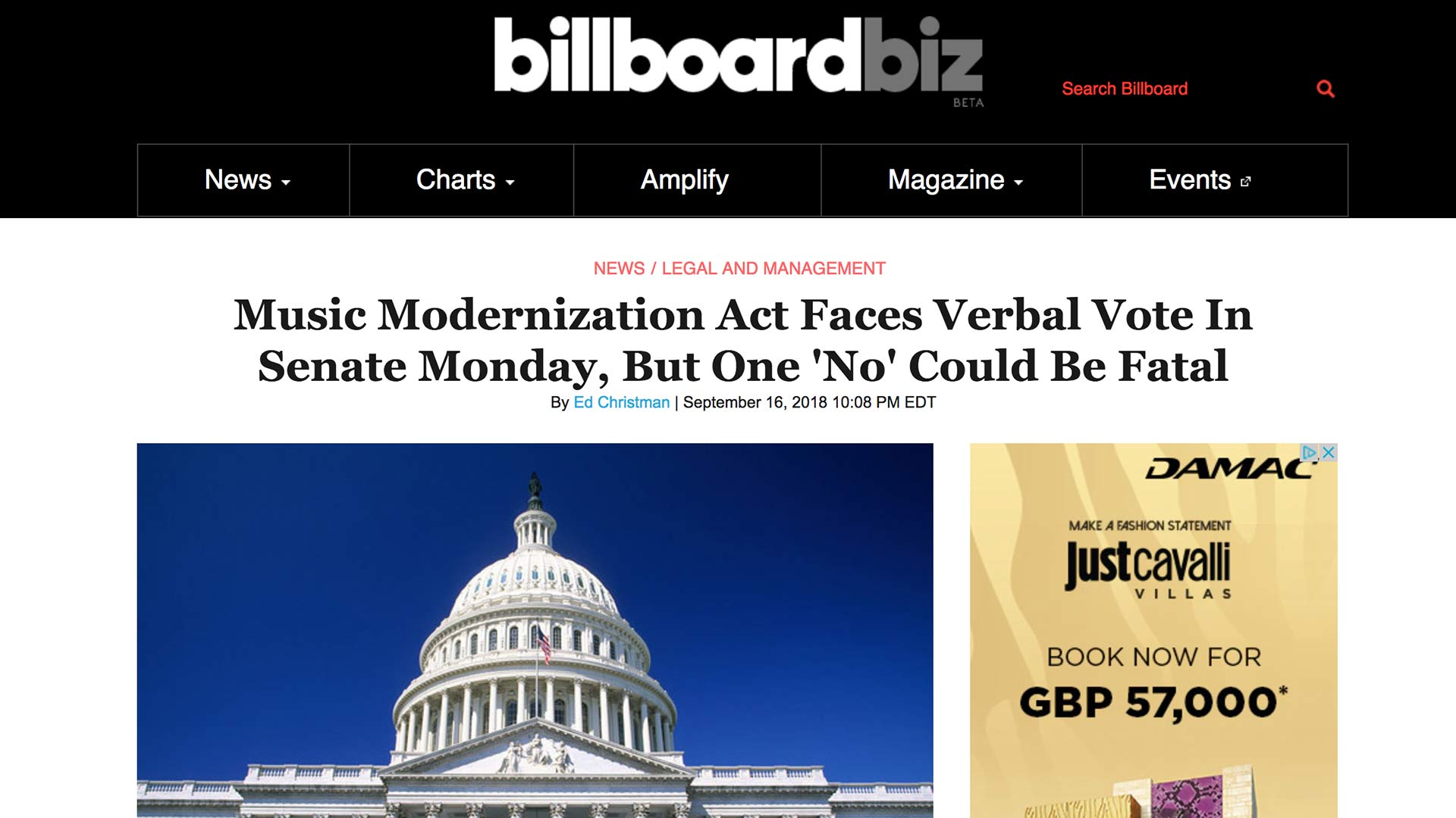 Fairness Rocks News Music Modernization Act Faces Verbal Vote In Senate Monday, But One 'No' Could Be Fatal