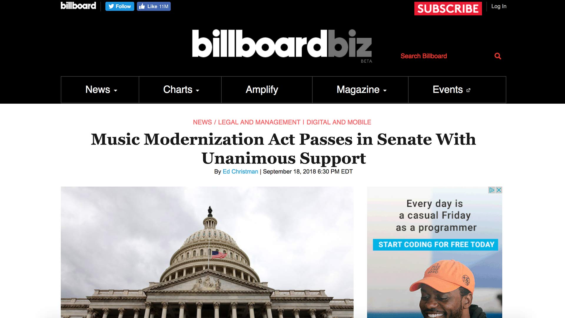 Fairness Rocks News Music Modernization Act Passes in Senate With Unanimous Support