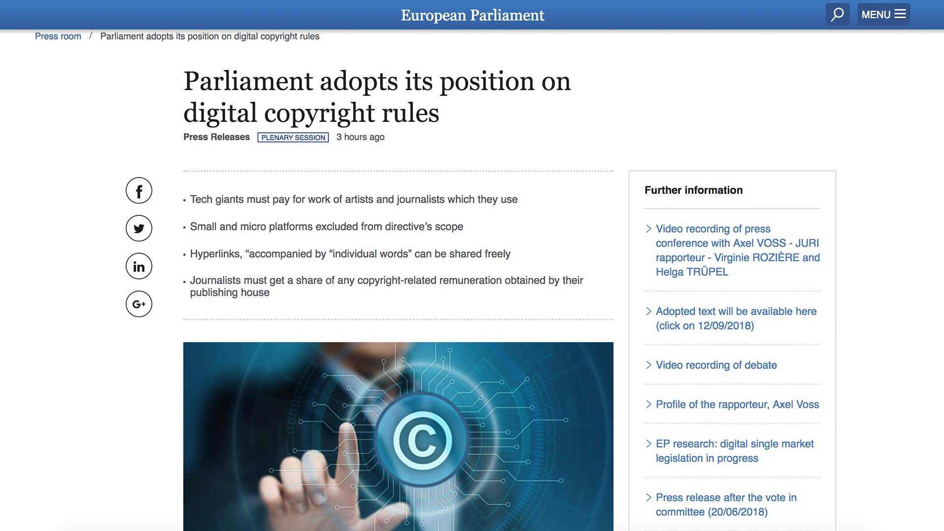 Fairness Rocks News Parliament adopts its position on digital copyright rules