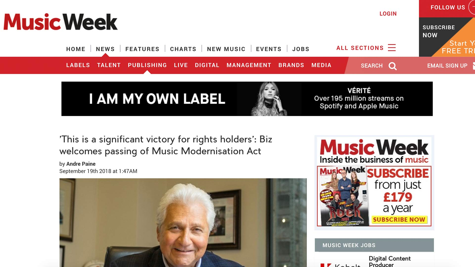 Fairness Rocks News 'This is a significant victory for rights holders': Biz welcomes passing of Music Modernisation Act