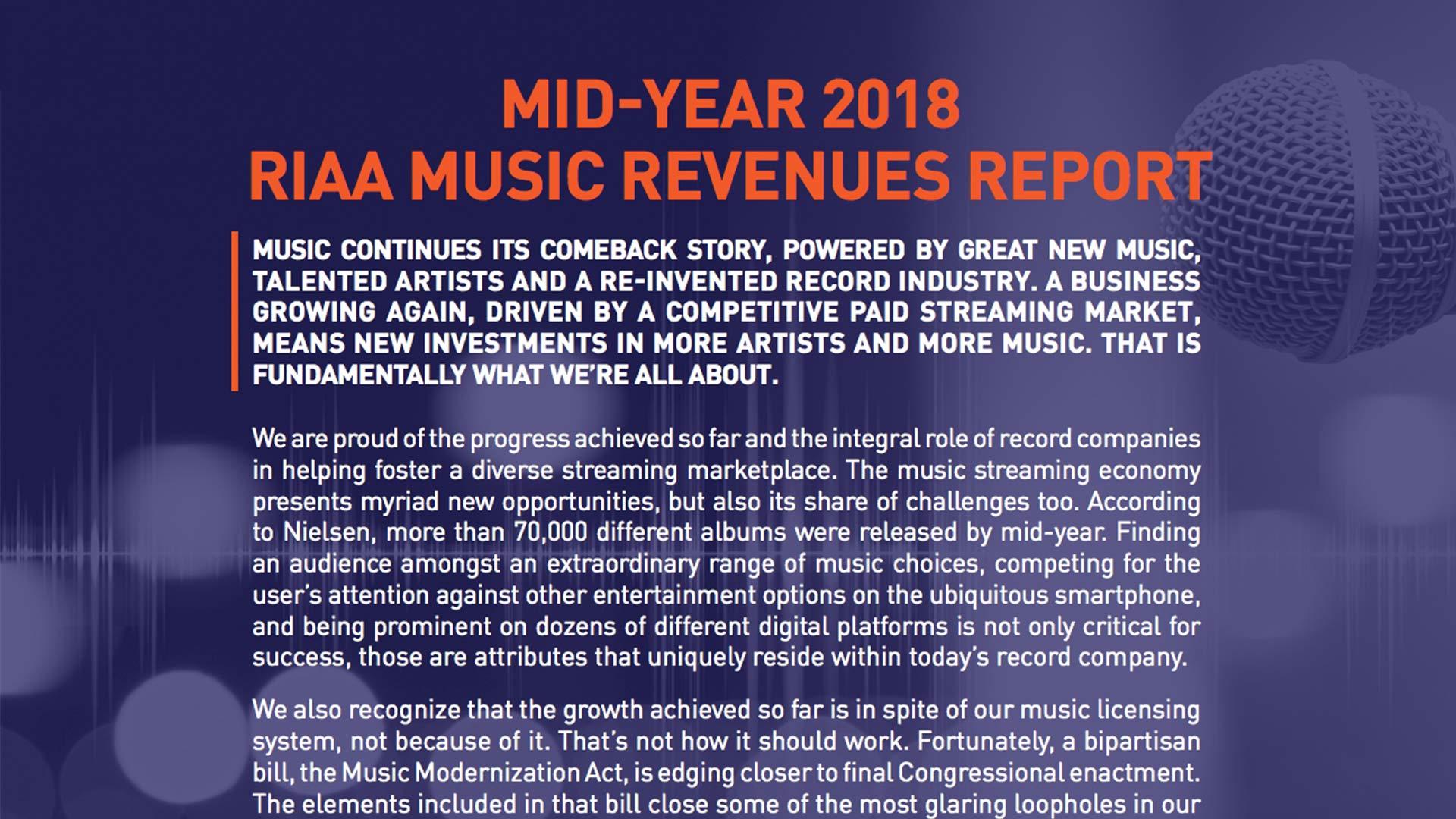 Fairness Rocks News MID-YEAR 2018 RIAA MUSIC REVENUES REPORT