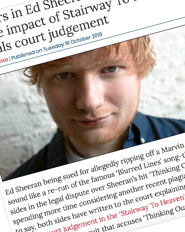 Fairness Rocks News Lawyers in Ed Sheeran song-theft case debate impact of Stairway To Heaven appeals court judgement