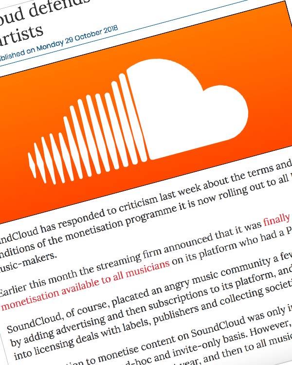 Fairness Rocks News SoundCloud defends terms of monetisation for DIY artists
