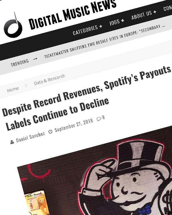 Fairness Rocks News Despite Record Revenues, Spotify's Payouts to Artists and Labels Continue to Decline