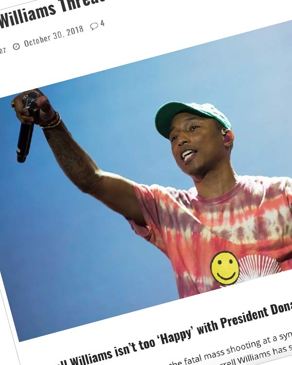 Fairness Rocks News Pharrell Williams Threatens to Sue President Donald Trump