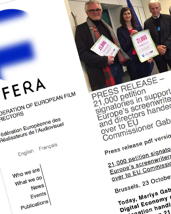 Fairness Rocks News PRESS RELEASE – 21,000 petition signatories in support of Europe's screenwriters and directors handed over to EU Commissioner Gabriel