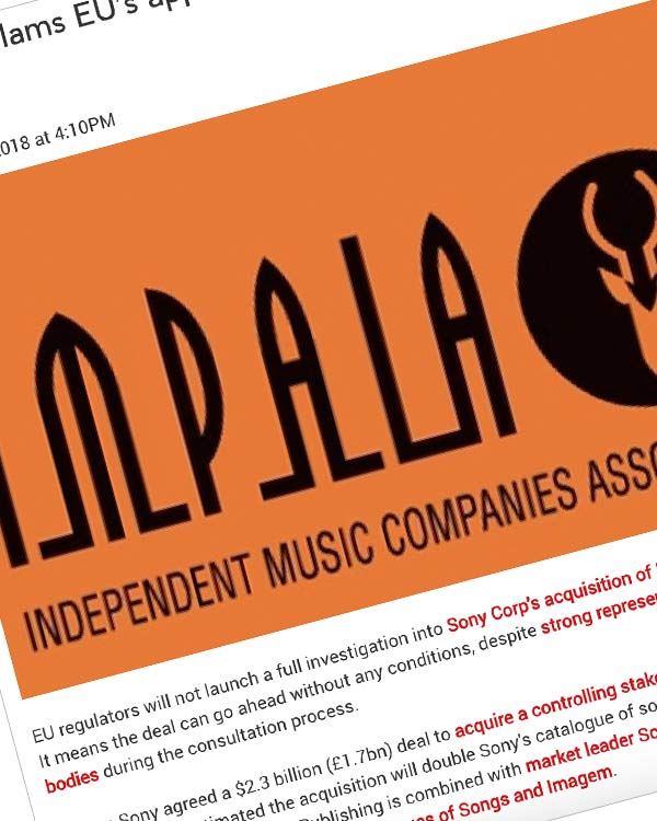 Fairness Rocks News IMPALA slams EU's approval of Sony's EMI Publishing deal