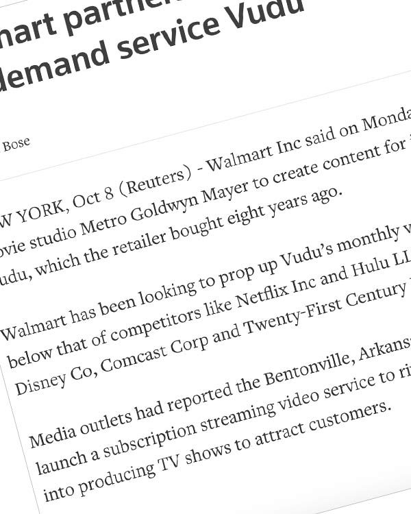 Fairness Rocks News Walmart partners with MGM to boost video-on-demand service Vudu