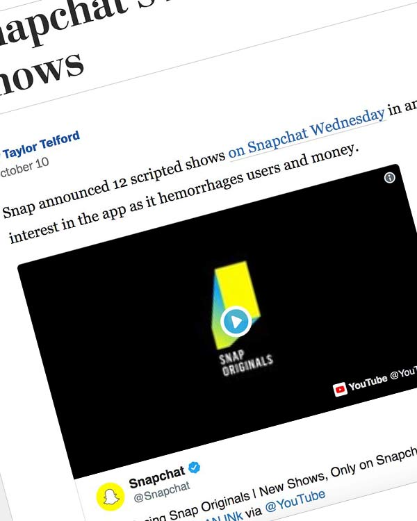 Fairness Rocks News The Switch Snapchat's latest scramble: Original scripted shows