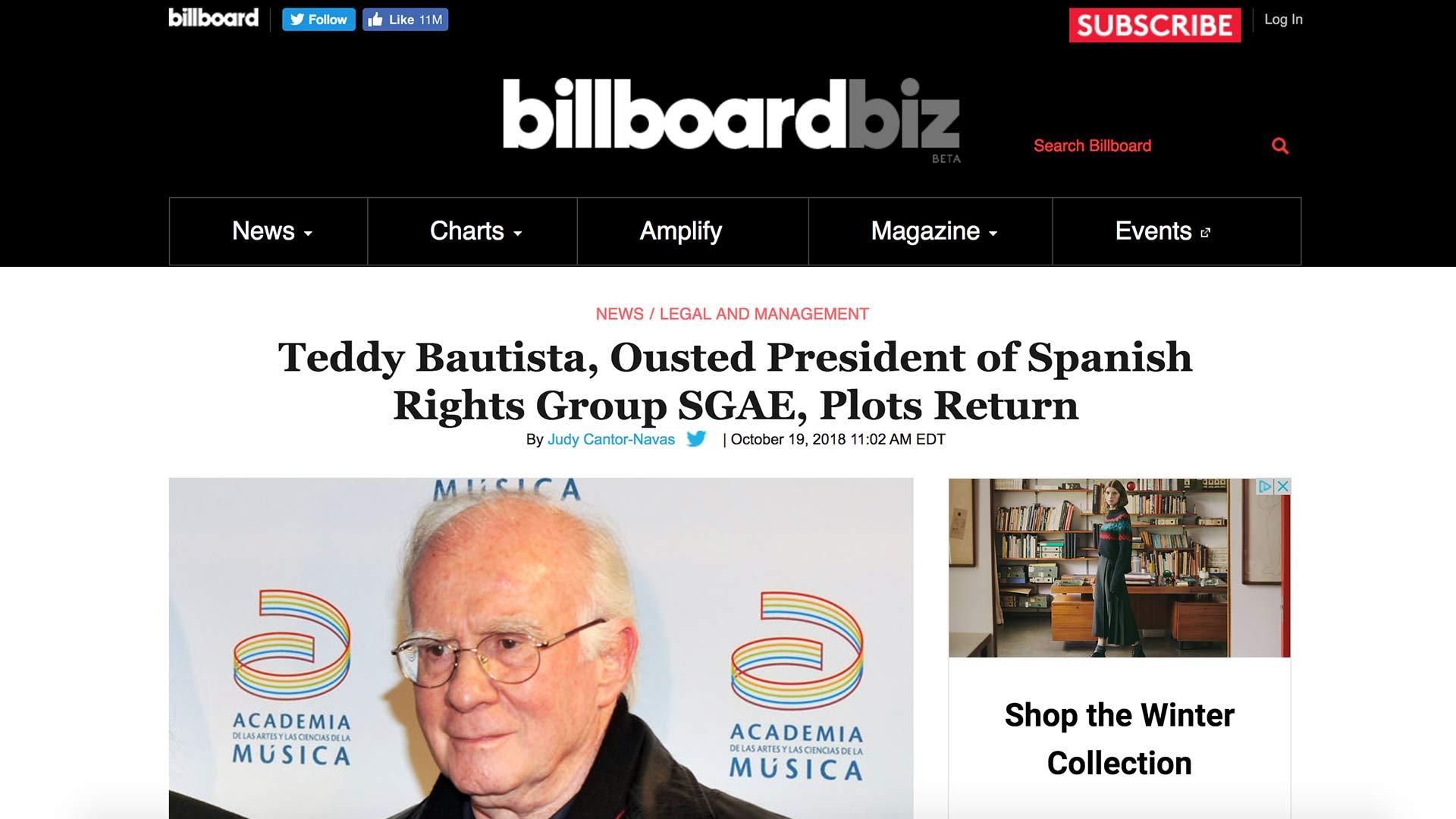 Fairness Rocks News Teddy Bautista, Ousted President of Spanish Rights Group SGAE, Plots Return