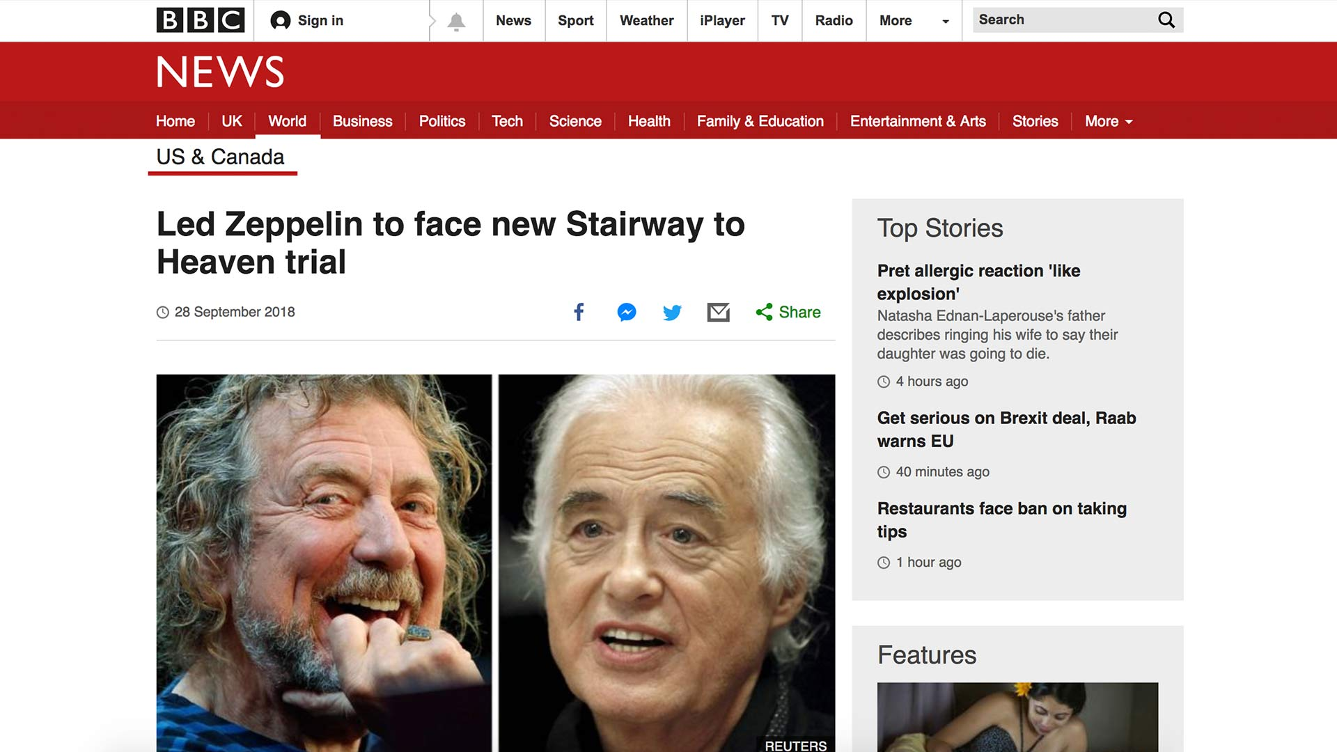 Fairness Rocks News Led Zeppelin to face new Stairway to Heaven trial