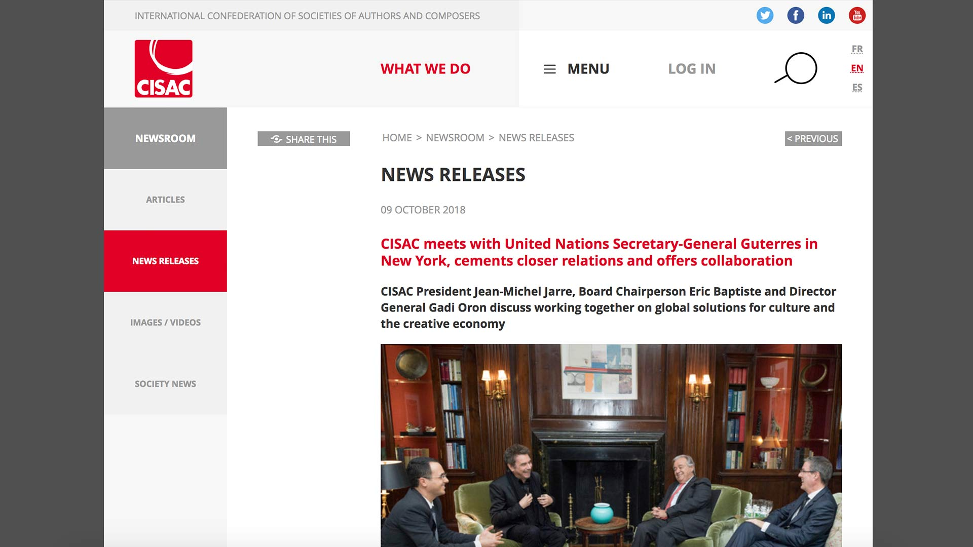Fairness Rocks News CISAC meets with United Nations Secretary-General Guterres in New York, cements closer relations and offers collaboration