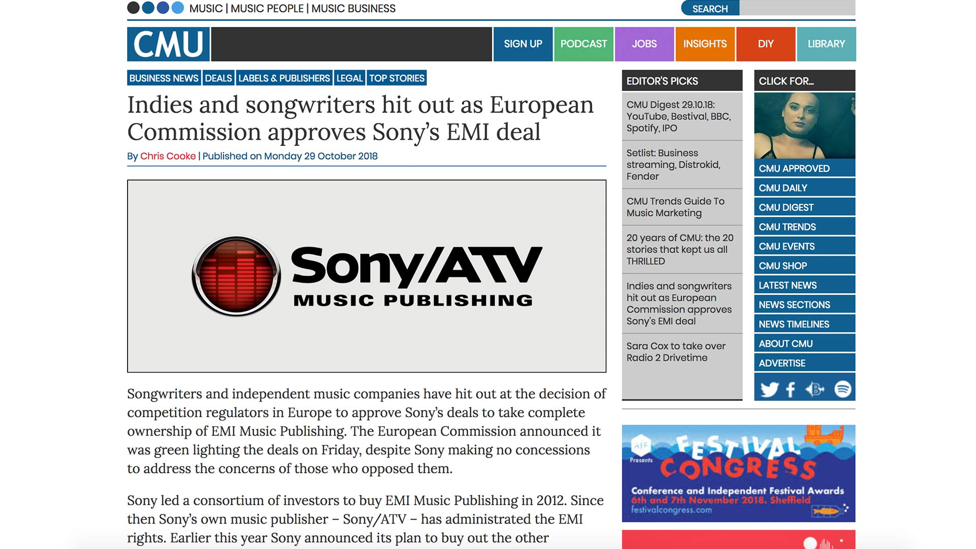 Fairness Rocks News Indies and songwriters hit out as European Commission approves Sony's EMI deal