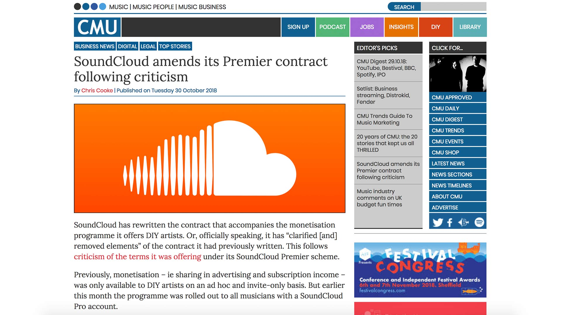 Fairness Rocks News SoundCloud amends its Premier contract following criticism