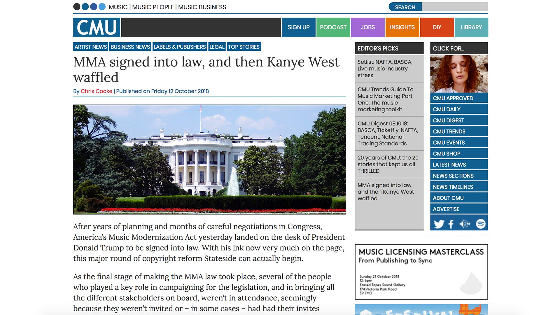 Fairness Rocks News MMA signed into law, and then Kanye West waffled