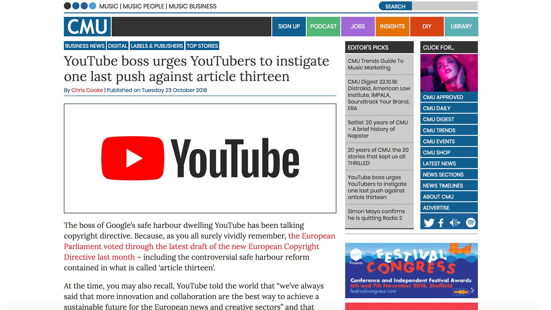 Fairness Rocks News YouTube boss urges YouTubers to instigate one last push against article thirteen