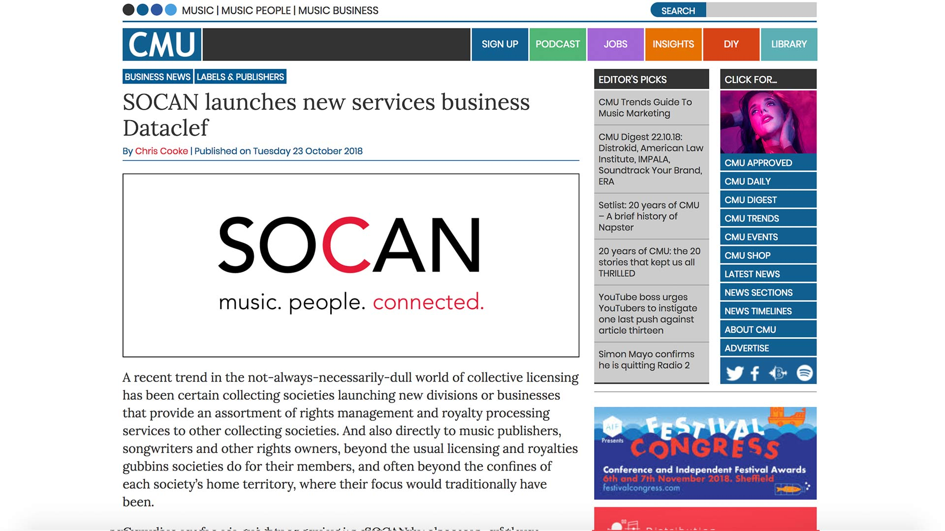 Fairness Rocks News SOCAN launches new services business Dataclef