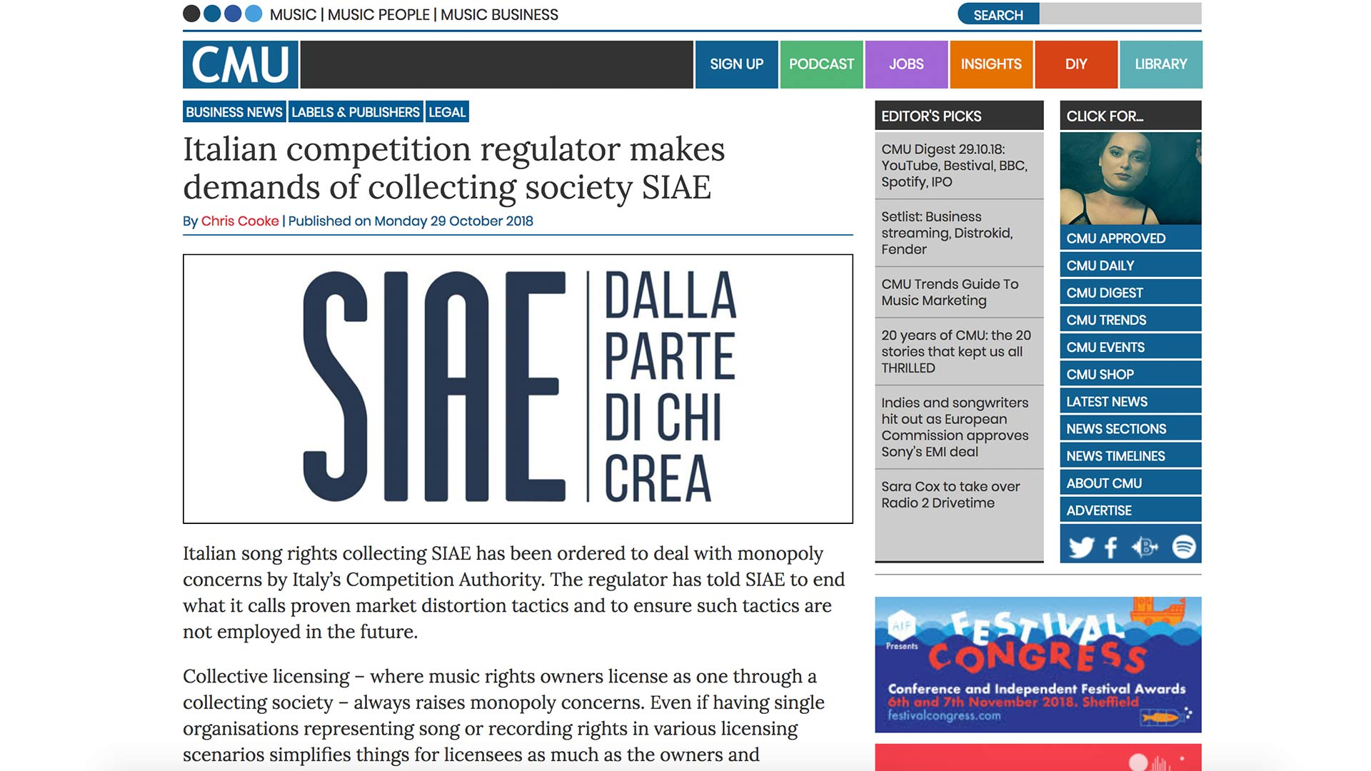 Fairness Rocks News Italian competition regulator makes demands of collecting society SIAE