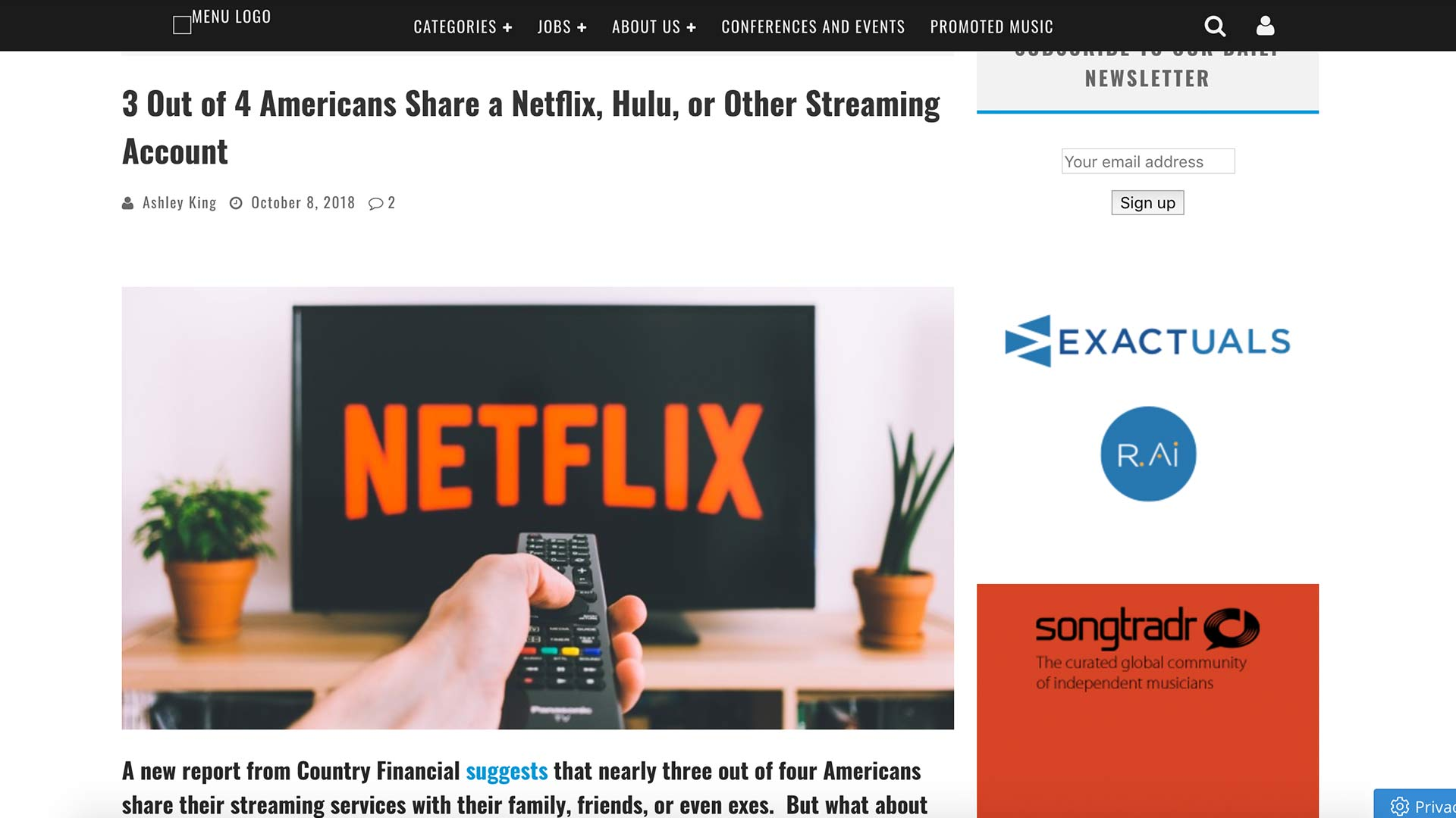 Fairness Rocks News 3 Out of 4 Americans Share a Netflix, Hulu, or Other Streaming Account