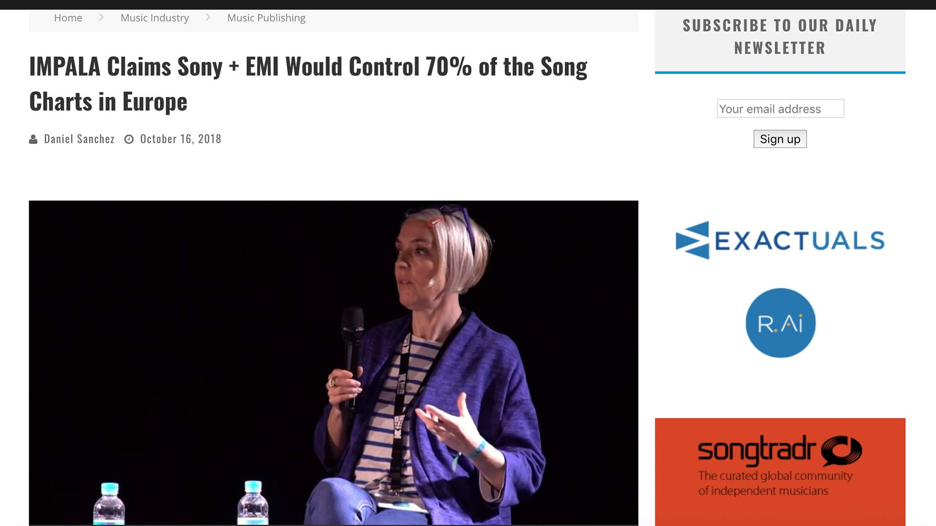 Fairness Rocks News IMPALA Claims Sony + EMI Would Control 70% of the Song Charts in Europe