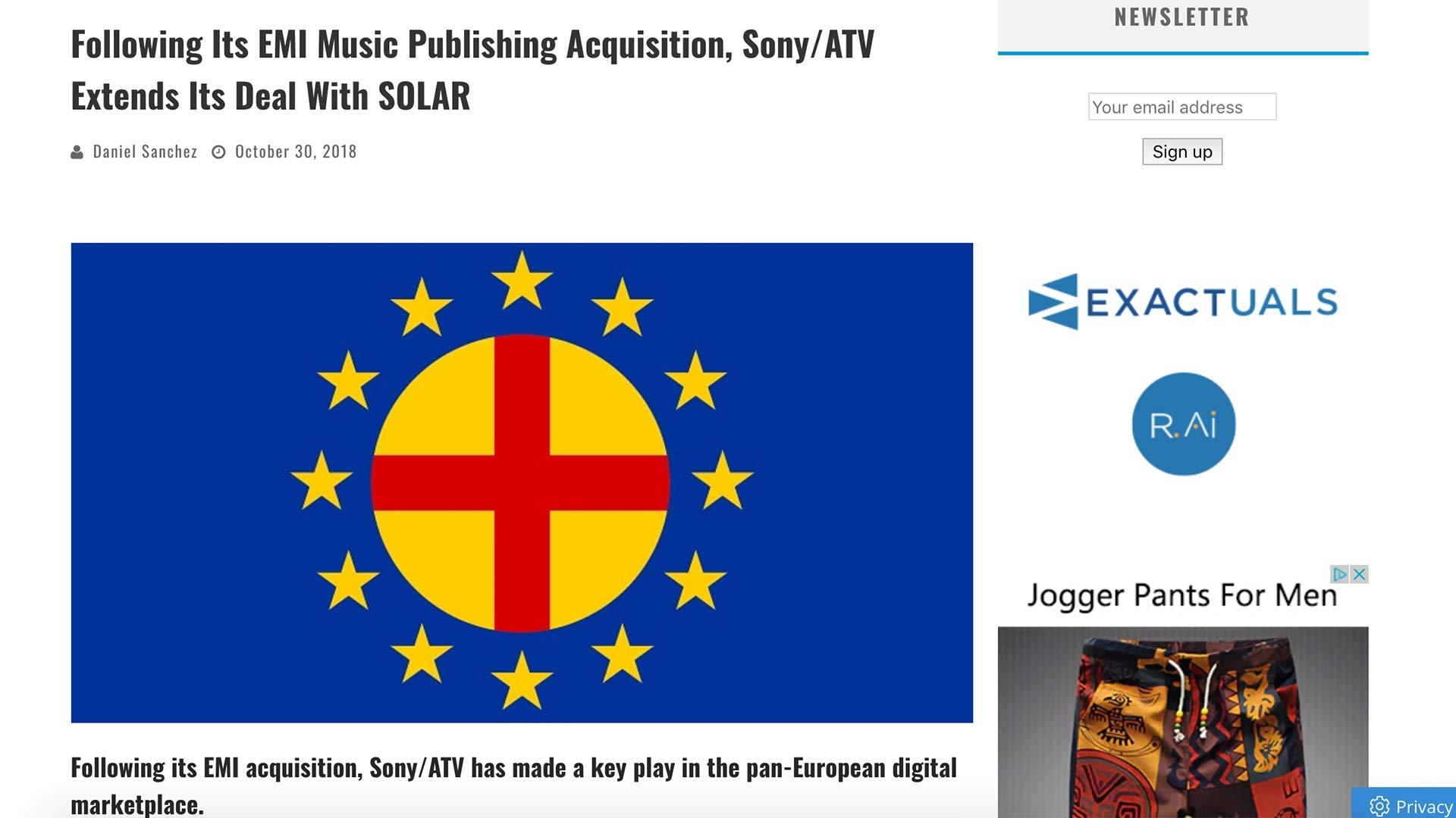 Fairness Rocks News Following Its EMI Music Publishing Acquisition, Sony/ATV Extends Its Deal With SOLAR