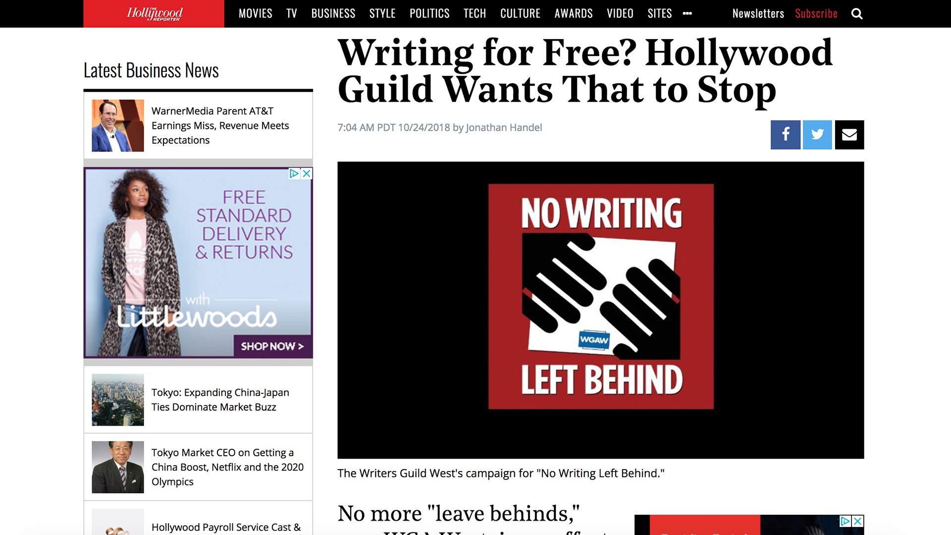Fairness Rocks News Writing for Free? Hollywood Guild Wants That to Stop