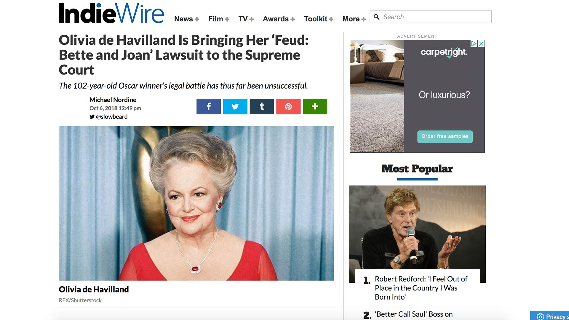 Fairness Rocks News Olivia de Havilland Is Bringing Her 'Feud: Bette and Joan' Lawsuit to the Supreme Court
