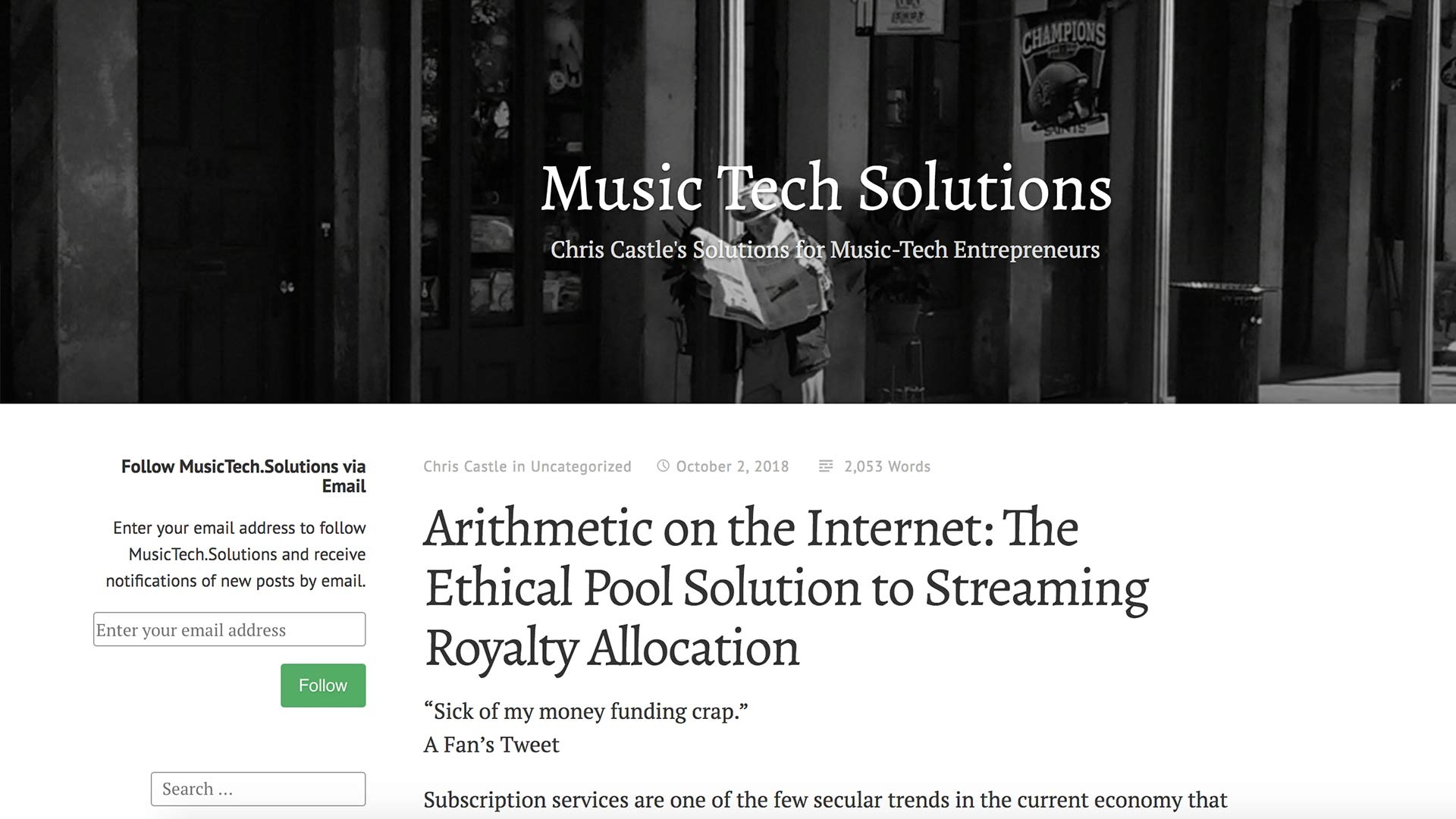 Fairness Rocks News Arithmetic on the Internet: The Ethical Pool Solution to Streaming Royalty Allocation