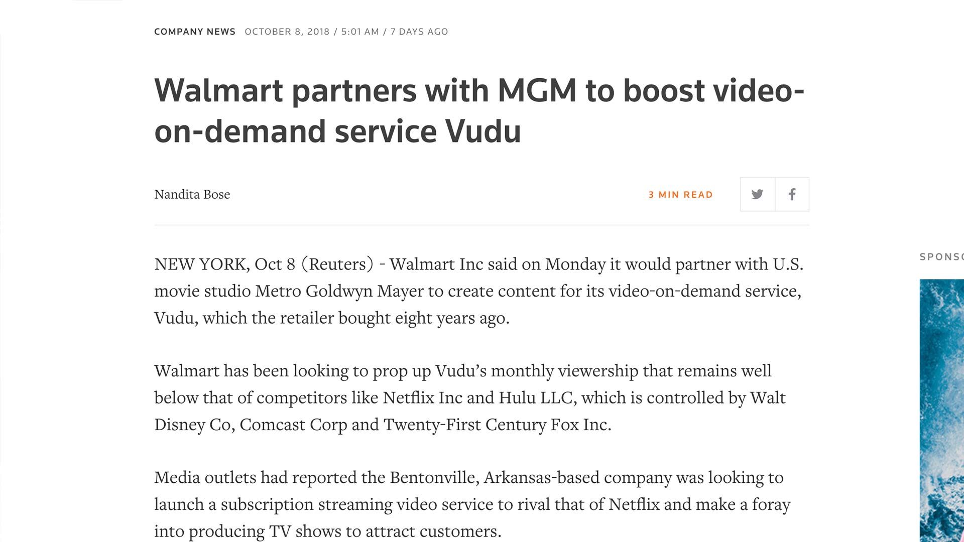 Fairness Rocks News Walmart partners with MGM to boost video-on-demand service Vudu