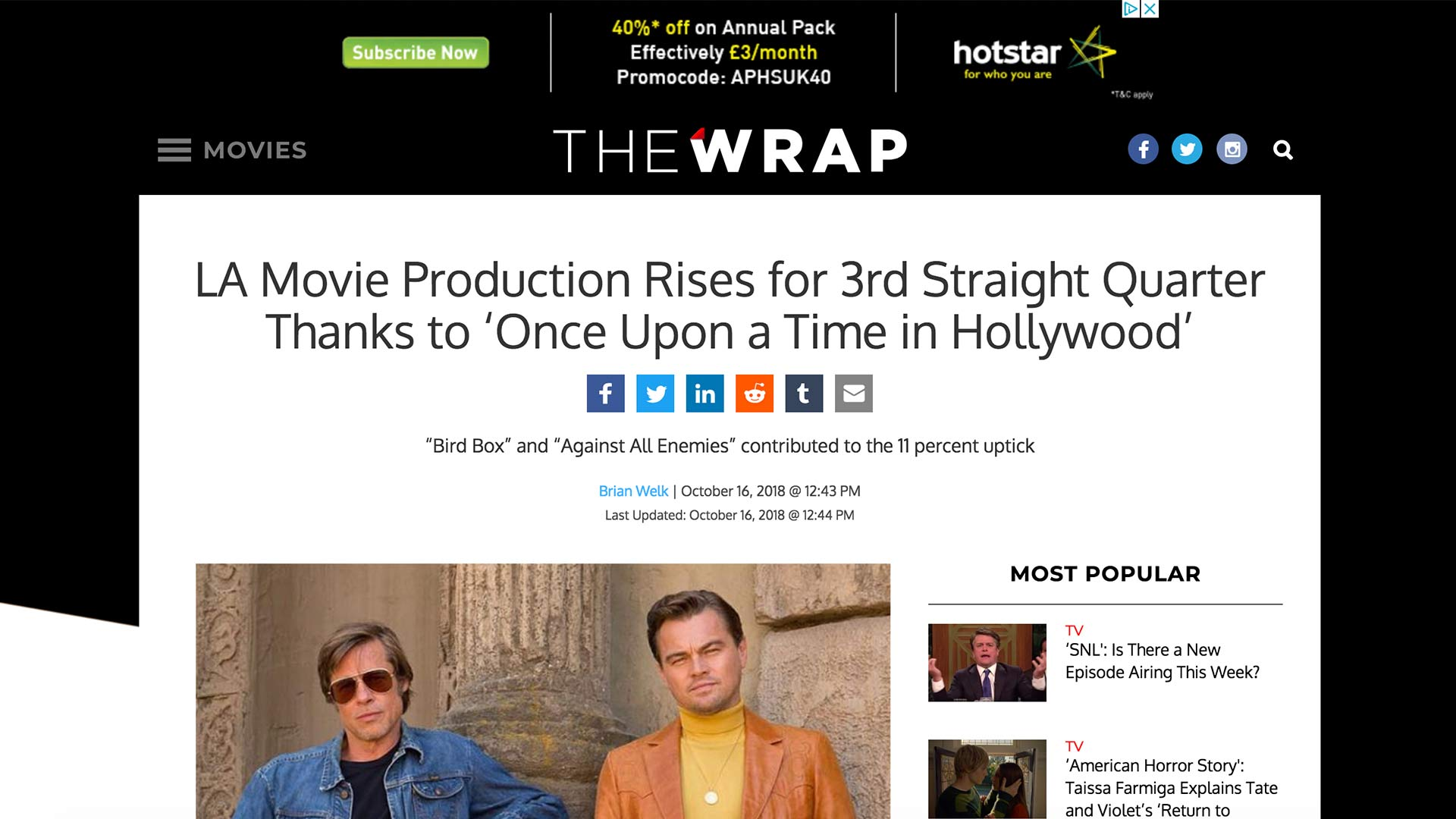 Fairness Rocks News LA Movie Production Rises for 3rd Straight Quarter Thanks to 'Once Upon a Time in Hollywood'