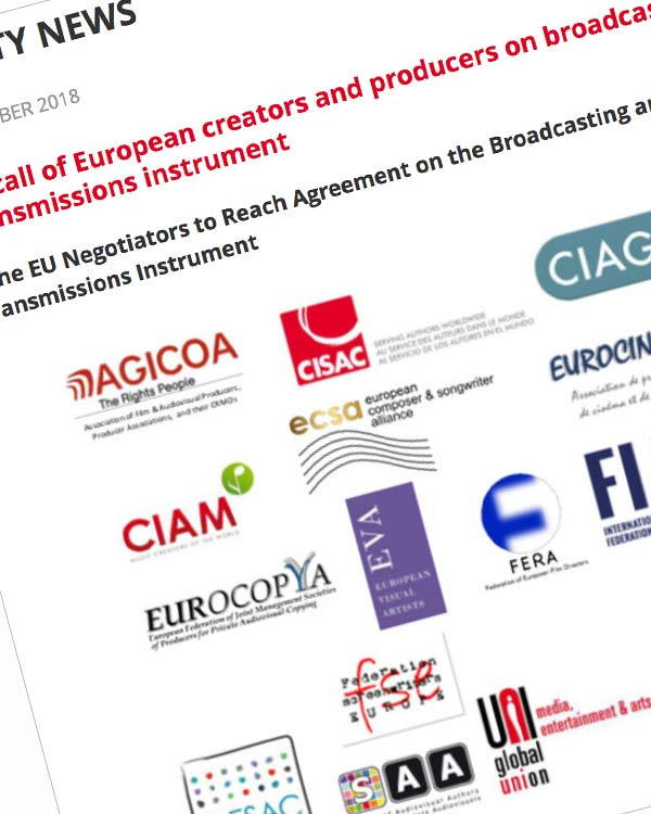 Fairness Rocks News Joint call of European creators and producers on broadcasting and retransmissions instrument