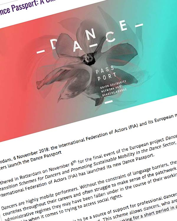 Fairness Rocks News Launch of the Dance Passport: A Union Solidarity Network for Dancers Abroad